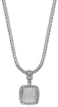 John Hardy Sterling Silver Classic Chain Diamond Medium Square Pendant