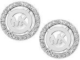 Michael Kors Mother-of-Pearl and Pavé Logo Stud Earrings