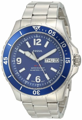 Fossil Men's FB-02 Quartz Stainless Three-Hand Watch Color: Silver Blue Dial (Model: FS5691)