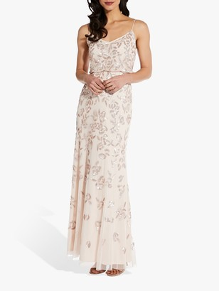 Adrianna Papell Floral Beaded Blouson Gown, Flaxen