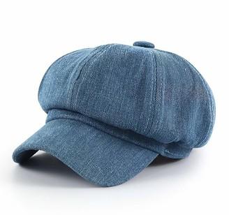 Qichen Retro Newsboy Style Baker Boy Cap Women Autumn Winter Beret Cabbie Cap Peaked Hat (Blue)