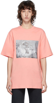 MSGM Pink Logo Monkey Graphic T-Shirt