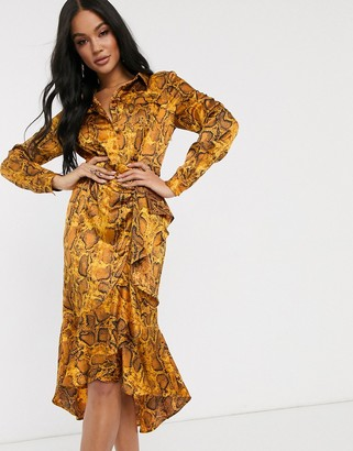 Pretty Darling snake print shirt dress
