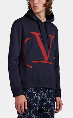Valentino Men's Spliced VLogo-Print Cotton-Blend Hoodie - Navy