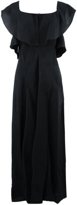 Lanvin Long Dress In Black Linen