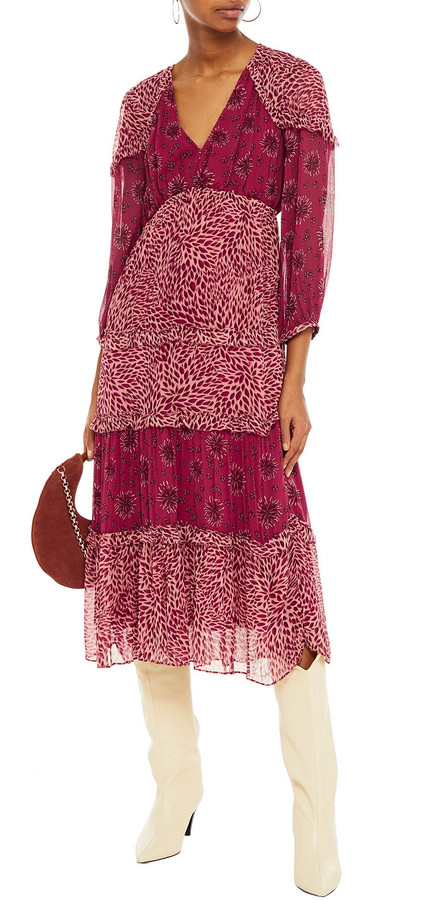 Thumbnail for your product : BA&SH Gypsie Tiered Printed Crepon Midi Dress