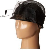 Scala Sinamay Cloche with Bow and Feathers Trim Caps