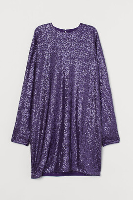 H&M Long-sleeved Sequined Dress - Purple
