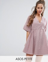 Asos V Front V Back Smock Dress With Ruched Tie Detail