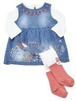 F&F Embroidered Denim Pinafore Dress, T-Shirt and Fox Tights Set, Newborn Girl's