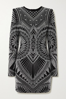 Balmain Crystal-embellished Stretch-jersey Mini Dress - Silver