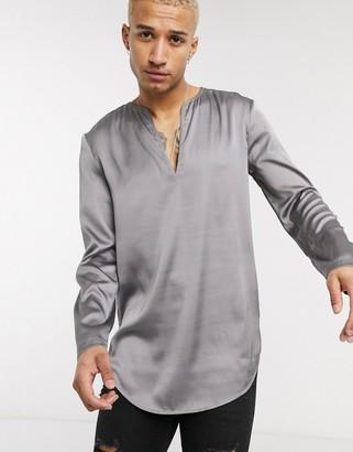 ASOS DESIGN regular fit overhead shirt in satin gray