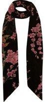 River Island Womens Black floral print skinny scarf