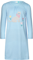 John Lewis Children's Cat Print Long Sleeve Nightdress, Blue