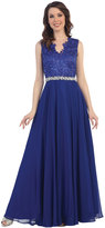 Cindy Royal Blue Modest Sleeveless Embellished Chiffon Gown For Prom 2017