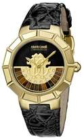 Roberto Cavalli Womens Black Leather Strap Watch With Black Dial.