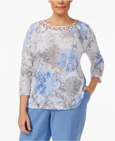 Alfred Dunner Plus Size Long Weekend Collection Printed Lattice-Neck Top