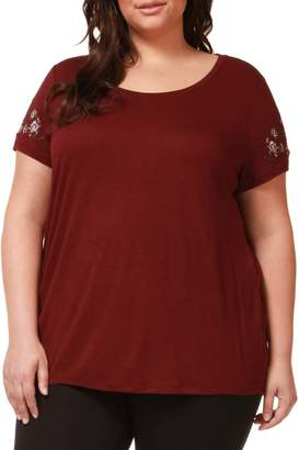 Dex Plus Embroidered Floral Roundneck Top