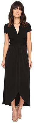 MICHAEL Michael Kors Short Sleeve Maxi Wrap Dress (Black) Women's Dress