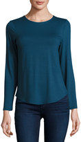 Neiman Marcus Basic Crewneck Long-Sleeve Tee, Steely Blue