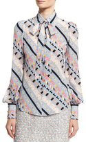 Marc Jacobs Printed Tie-Neck Bishop-Sleeve Blouse, Blue