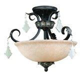 Dolan Three Light Bronze Bowl Semi-Flush Mount