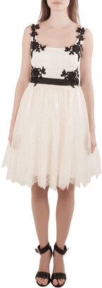 Marchesa Cream Floral Lace Embellished Applique Detail Scoop Neck Sleeveless Dress M