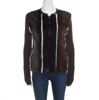 Fendi Brown Stretch Wool Mink Fur Paneled Zip Front Sweater S