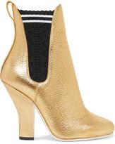 Fendi Metallic Textured-leather Ankle Boots