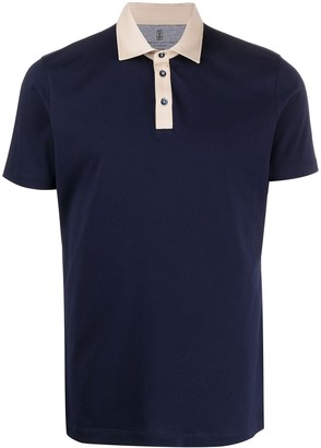 Brunello Cucinelli Two-Tone Short-Sleeved Polo Shirt
