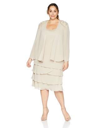 SL Fashions Women's Plus Size Embellished Tiered Jacket Dress
