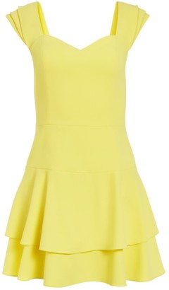 Alice + Olivia Brinda Double Ruffle A-Line Dress