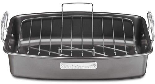 """Cuisinart 17"""" Aluminized Steel Non-Stick Roaster with V-Rack"""