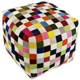 Handcrafted Patchwork Cowhide Ottoman Cover from Brazil, 'Carnaval Chess Cube'