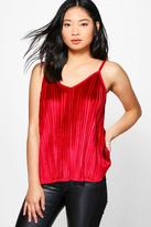 Boohoo Petite Lilly Velvet Pleated Camisole ruby