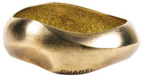 Chanel Gold Tone Spring Brushed Enameled Metal Wavy Distressed Bangle