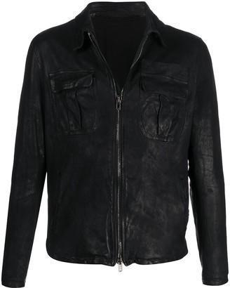 Salvatore Santoro Point-Collar Crinkle Jacket