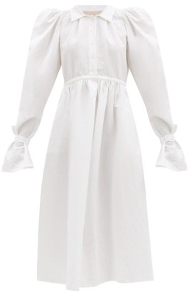 Brock Collection Romilda Balloon-sleeved Cotton-blend Midi Dress - White