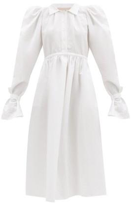 Brock Collection Romilda Balloon-sleeved Cotton-blend Midi Dress - White