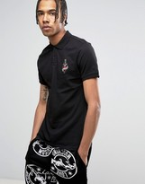 Love Moschino Tattoo Chest Embroidery Polo Shirt