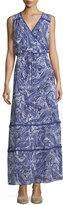 Neiman Marcus Printed Faux-Wrap Maxi Dress, Blue Paisley