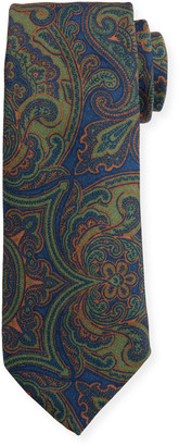 Canali Men's Vintage Paisley Wool-Silk Tie, Green
