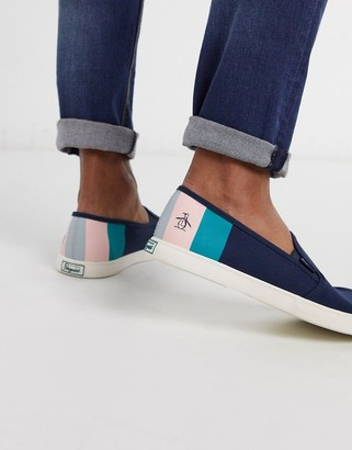 Original Penguin slip on stripe plimsoll in navy
