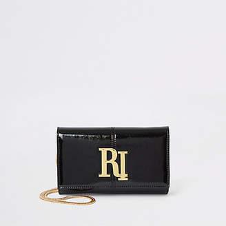 River Island Black patent RI underarm bag