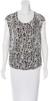 Halston Silk Abstract Print Top