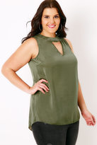 Yours Clothing Khaki Sleeveless Blouse With Choker Detail & V-Neckline