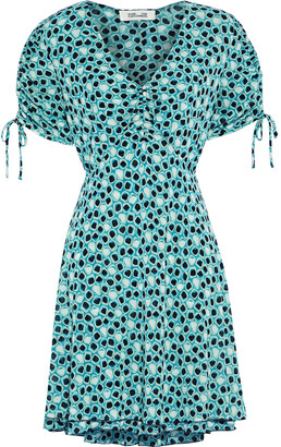 Diane von Furstenberg Carin Ruched Printed Stretch-mesh Mini Dress