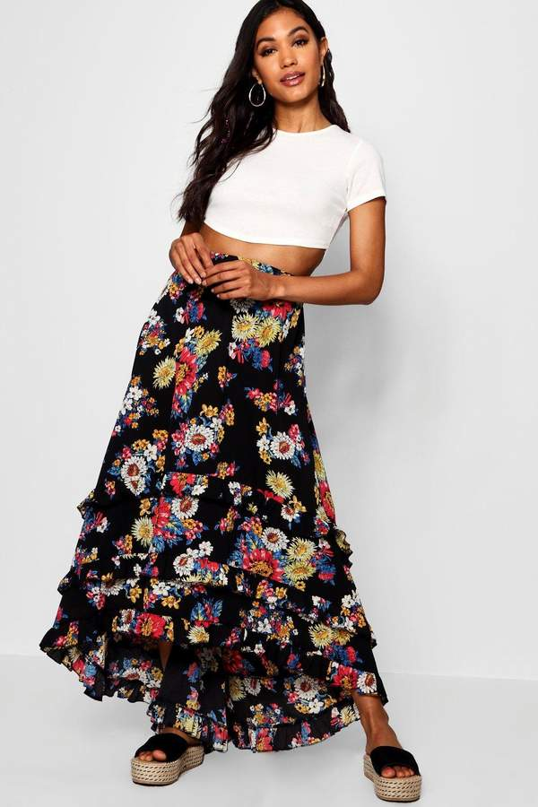 boohoo Woven Floral Chiffon Tiered Maxi Skirt
