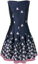 Talbot Runhof boat print flared dress