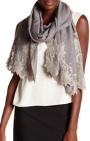 Saachi Grey Elegant Gold Lace Wool Wrap